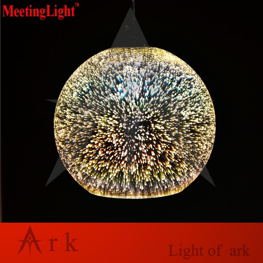 MeetingLight Classic design LED lamp pendant light diameter 20cm 3D colorful Plated Glass Mirror Ball hanging light fixture