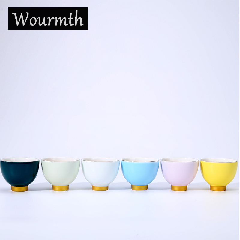 Wourmth 6 Colors Chinese Colourful Teacups Ceramic Tea Cup Chinese Kingfu Teaset Accessories High Quality China Porcelain
