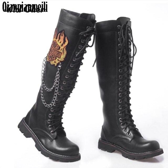f1c3a58183e 2017 botas altas por encima de la rodilla botas militares de fuego para  hombre Botas de