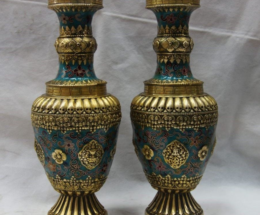 China Bronze Copper Cloisonne Eight Treasures Palace Pot Flask Bottle Vase Pair 8.02