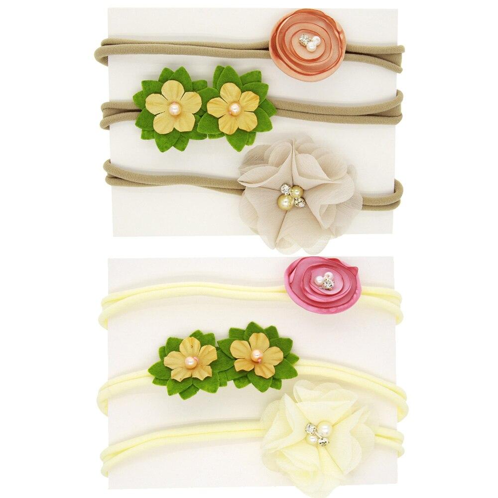 TINSAI 3Pcs/Set Newborn Kinds Nylon Flower Headwear Chiffon Flower Elastic Hairbands For Children Hair Accessories