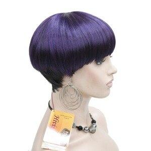 Image 3 - Strong beauty perruque Bob Hair, cheveux courts et lisses, noir et violet, perruque pour femmes, tête de champignon