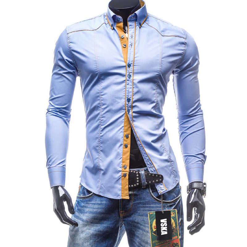 2019 новые мужские рубашки Весна Осень Повседневная мужская рубашка с длинными рукавами хлопок плюс размер черный отложной воротник Slim Fit мужская одежда XXL