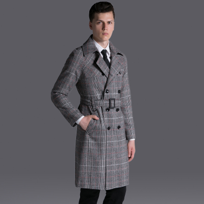 Brand Vintage Plaid Trench Long 2017 Mens Causal Double Breasted Retro Grid Coat Male S-6XL Raglan Sleeve Pea Coat