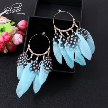 Badu Round Hoop Earring Blue Feather Tassel Big Statement Earrings Women Vintage Boho Jewelry for Christmas Party Wholesale
