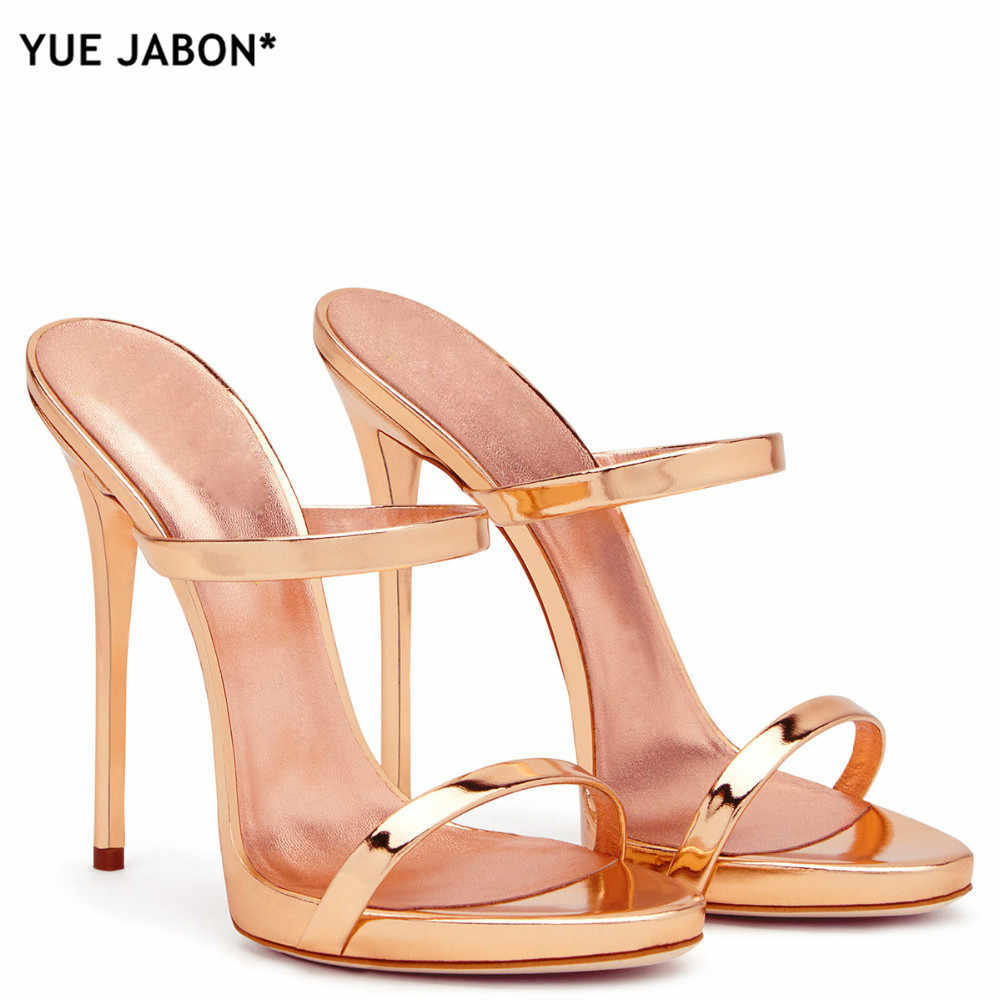 2018 Women Two Straps High Heels Rose Gold Patent Leather Strappy Sandals  Ladies Cute Slippers Sexy