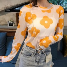 New Womens Casual O Neck Floral Print Long Sleeve Mesh Perspective Sun Protection T-Shirt  Summer