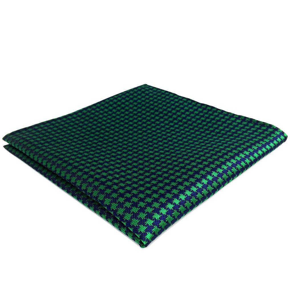 FH24 Green Blue Houndstooth Mens Pocket Square Silk Designer Handkerchief Classic Wedding Hanky
