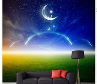 Beautiful Sky Meadow Meteor Moon Home Decoration Window Mural Wallpaper Modern Living Room Wallpapers