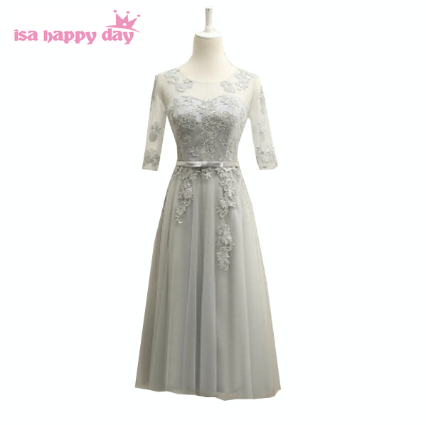 modest tea length gowns bridesmades 2019 fashion design gray party   dress     bridesmaid     dresses   woman with sleeve ball gown B3721