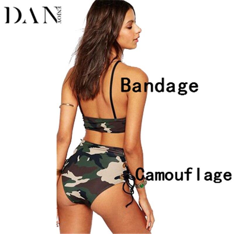 DANENJOY High Waist Bikinis Set Swimsuit Women 2017 Sexy Camouflage Bandage Print Swimwear Stylish Army Green Bathing Suit Cross stylish camouflage terylene waist bag