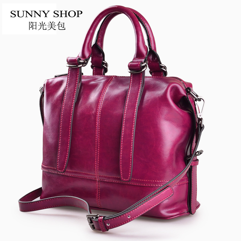 SUNNY SHOP  American Luxury Handbags Genuine Leather  Women Bags Designer Women