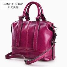 Sunny shop americana de lujo bolsos de cuero genuino bolsos de las mujeres del diseñador bolsas de mensajero de las mujeres bolsos de cuero verdaderos
