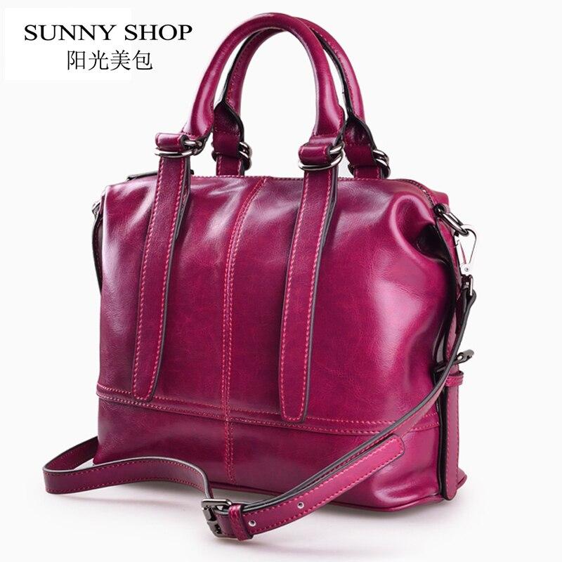 SUNNY SHOP American Luxury Handbags Genuine Leather Women Bags Designer Women Messenger Bags Women Real Leather Handbags