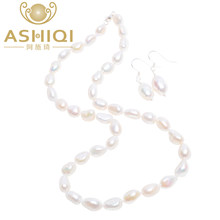 ASHIQI Baroque Natural pearl Jewelry Sets Real Freshwater pearl Necklace 925 Sterling Silver Earrings for women New(China)