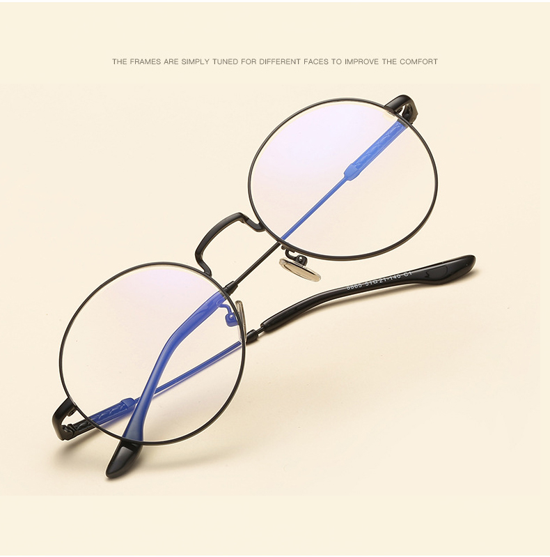 e02f345cff0 2019 2018 New Retro Round Glasses Frame Korean Art Metal Round Flat ...
