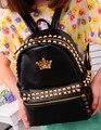 2015 nova marca moda feminina crown impressão mochila designer de rebites de couro de ombro sacos de escola mochila