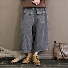 Johnature Corduroy Wide Leg Pants Women Trouser Pockets 2019