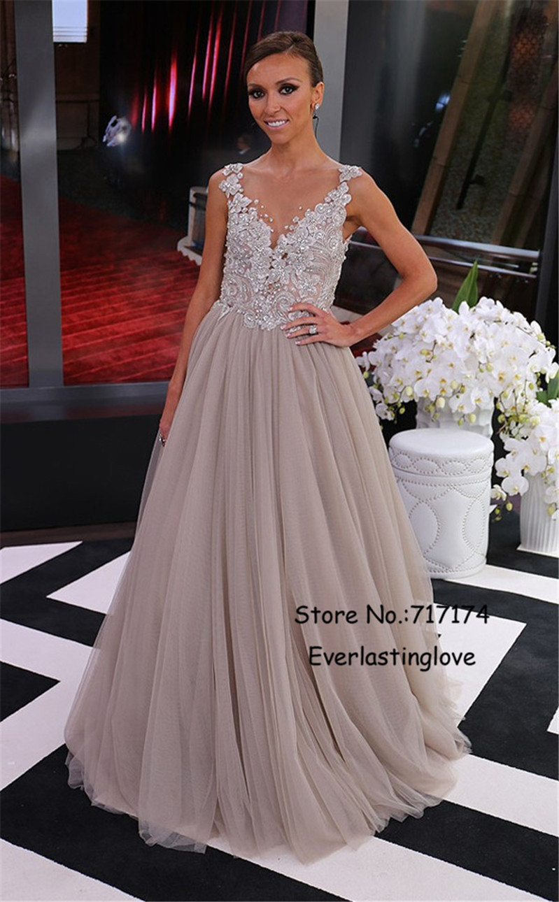 4bf7891743 A Line V Neck Beaded Applique Gray Tulle Cap Sleeves Evening Dresses Formal  Gowns Illusion Back Prom Dresses Robe de Soiree-in Prom Dresses from  Weddings ...