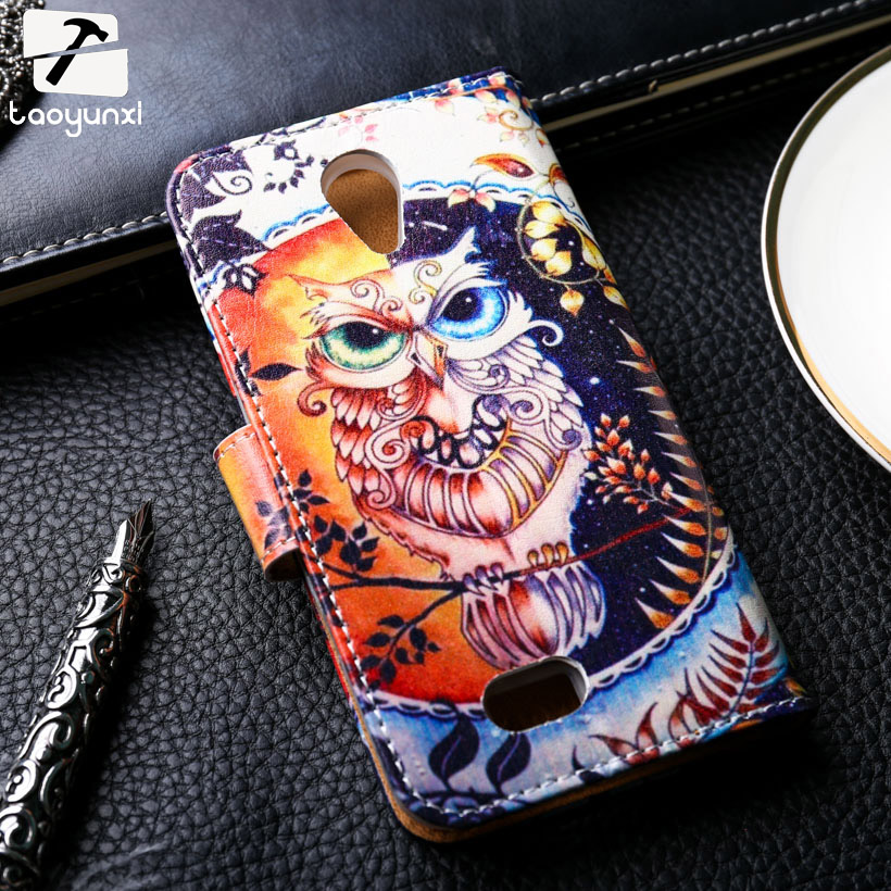 TAOYUNXI Flip Phone Cover Case For Fly IQ4416 quad Era Life 5 IQ 4416 life5 4.5 inch Case Painted PU Leather Card Holster Cover