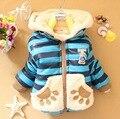 2015 nuevo abrigo de invierno infantil moda a rayas de los cachorros con capucha capa del niño acolchado chicos abrigos niños abajo y abrigos esquimales niños prendas de vestir exteriores