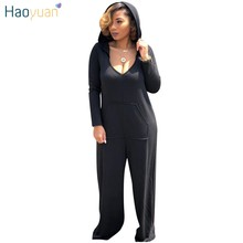 8e83c6c5447b0 HAOYUAN Plus Size Hooded Long Sleeve Jumpsuits Streetwear Overalls Casual  Loose One Piece Sexy Wide Leg Rompers Womens Jumpsuit