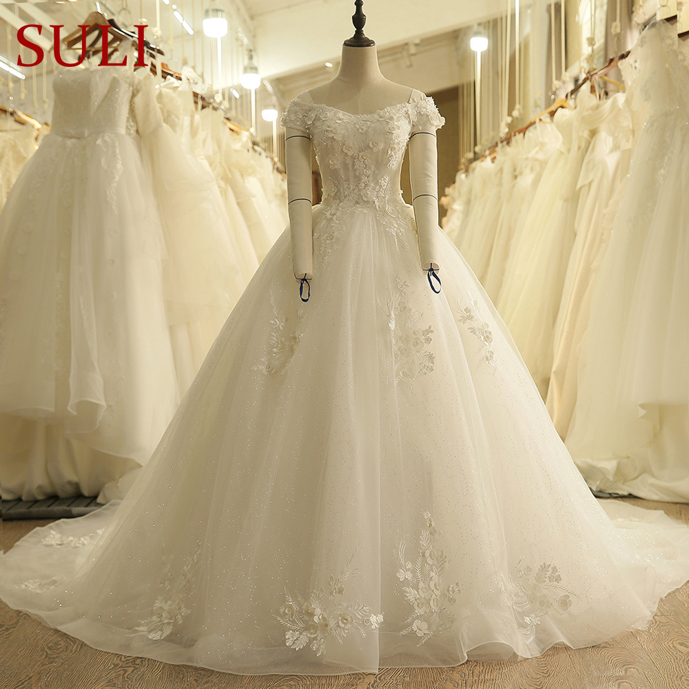 SL-9008 Boat Neck Illusion Bodice Wedding Dress Lace Sequins Bridal Gowns 2018(China)