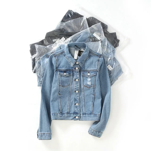 Lisa Colly Mode Frauen Jeansjacke Vintage Abgeschnitten Kurze Jeansjacken Langhülse Blau Schwarz Jeans Strickjacke Mantel