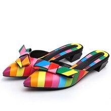 Летом стиль наконечник Баотоу кожаные сандалии женщин профилированные в кожаной обуви с кожаными сандалиями и тапочки Цвет лук w727