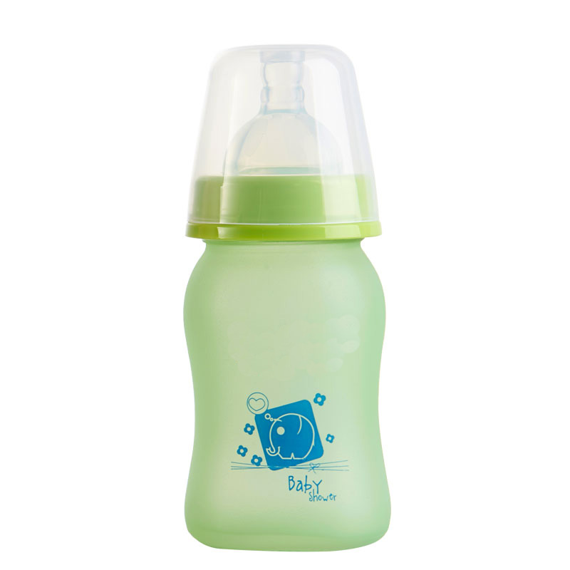 Wide Mouth Arc Baby Children Milk Bottle For Feeding Discolourable Of Glasses Silicone 150ml 240ml