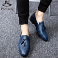 Men oxford Breathable Weaving Leather Flats Shoe 2017 Spring Blue Casual Shoes For Man Sapatos Masculinos US size 9 black blue