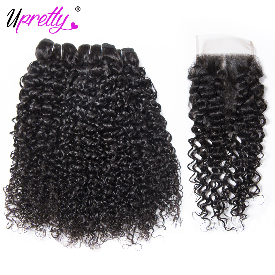 Upretty Hair Peruvian Curly Hair With Closure 3 Bundles & Lace Closure Remy Hair Extension Curly Human Hair Bundles With Closure