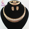 Fashion Women  Gold Plated Crystal Africa Dubai Wedding Party Necklace Bangle Earring Ring Jewelry Set