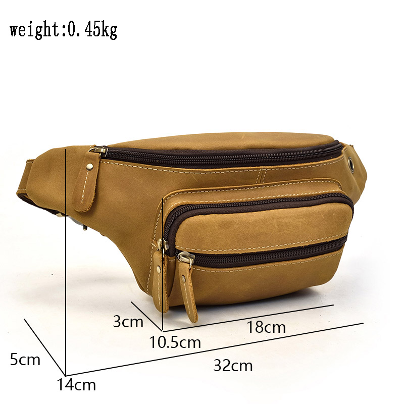 Men Genuine Leather waist Packs Fanny Pack Belt Bag Phone Pouch Mini Travel Chest Bag Male Small Crossbody Bag Leather Pouch-in Waist Packs from Luggage & Bags    2