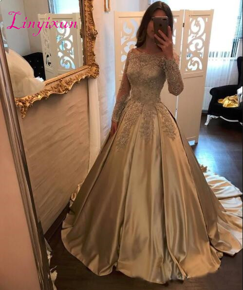 2018 Gold Ball Gown   Prom     Dresses   Bateau Neck Off Shoulder Long Sleeves Appliques Beaded Satin Evening Gowns
