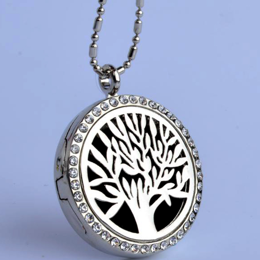 10 pcs / LOT   Tree  Pendant With Rhinestone Locket (30mm) Aromatherapy Perfume Diffuser Floating Locket Necklace For Gift locket
