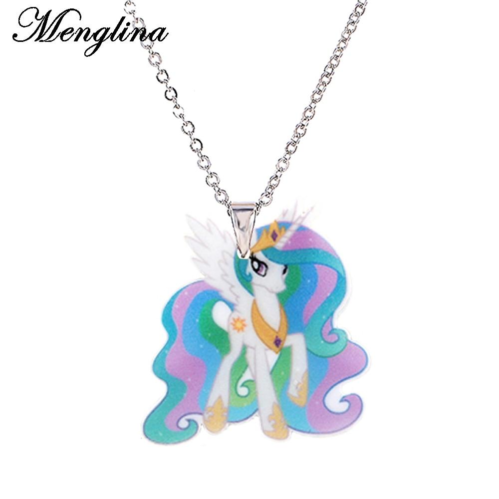 Menglina Fashion Cartoon Unicorn Pony Acrylic Pendant Neckla