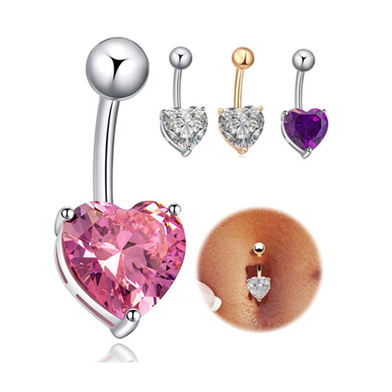 2017 Hot Ing Cute Love Heart Cz Steel Navel Belly On Bar Ring Gold Silver Plated Surgical Body Piercing Jewelry In From