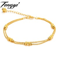 TENGYI Fashion Vintage Stylish Yellow gold color Charm Simple bell Anklet Foot Chain Anklet Ankle jewelry 728