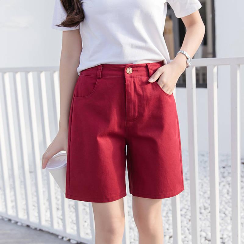 Plus Size Women Shorts Boyfriend Casual Straight High Waist Shorts Women Capris Summer Shorts Loose Short Femme Trousers C5351