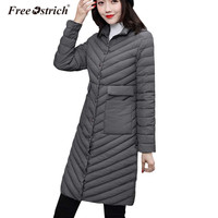 Free Ostrich Jacket Woman Long Padded 2018 Female Overcoat Ultra Light Solid Jackets Coat Portable Parkas Plus Size L0930