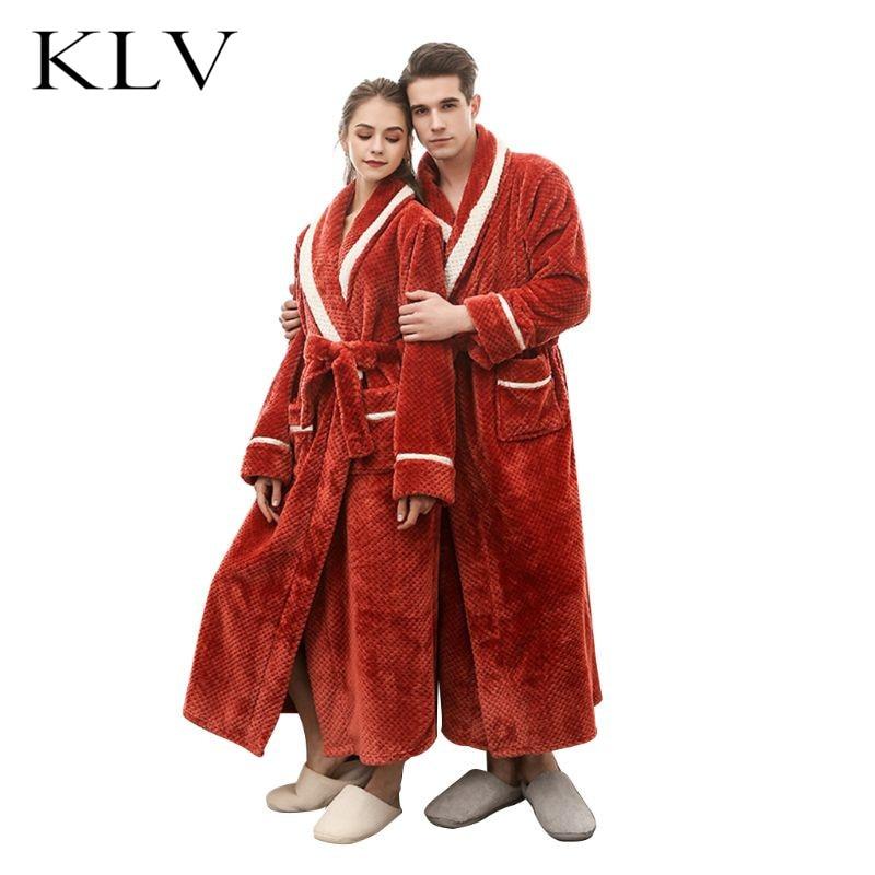 Women Men Couples Winter Thicken Flannel Kimono Bathrobe Open Front Contrast Striped Jacquard Nightgown LooseThicken Sleepwear