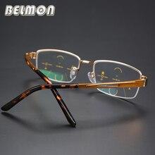 BELMON Reading Glasses Men Multi-Focal Progressive Presbyopic Eyeglasses AL-MG Frame Eyewear +1.0+1.25+1.50+1.75+2.00+2.25 RS013