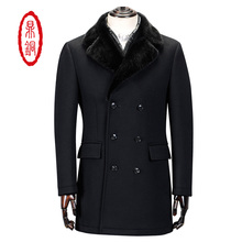 2017 Men High Quality Brand clothing Padded Pure Wool Peacoat Double-breasted Winter Warm Thick Fashion Fur Collar 50336-01(China)