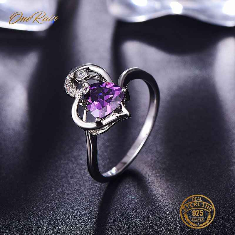 OneRain 100% 925 Sterling Silver 7 * 7 MM Amethyst Gemstone Birthstone Wedding Engagement Heart Ring Jewelry Wholesale Size 6-9