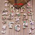 78pcs/lot Fashion 26 Letters Enamel Alloy Pendant  ABC Words Charms Jewelry accessories DIY 18*13mm