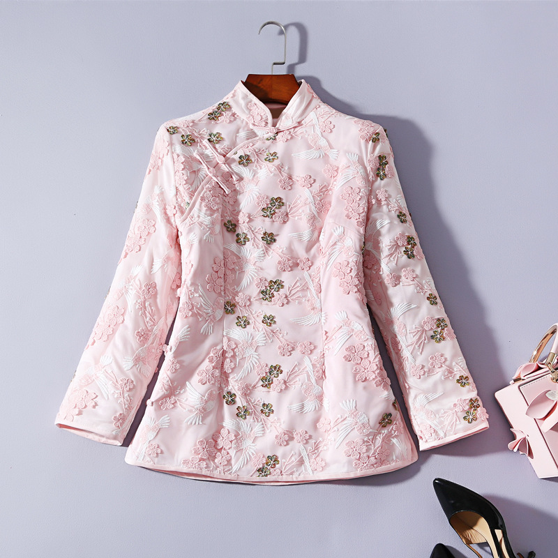 Winter New Cheongsam Top Plate Button Embroidery Thick Quilted Tang Suit Jacket Stand Collar Long Sleeve