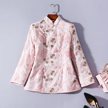 Winter New Cheongsam Top Plate Button Embroidery Thick Quilted Tang Suit Jacket Stand Collar Long Sleeve Cotton Coat(China)