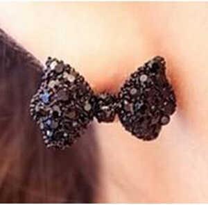 Drop Shipping Western Fashion Simple Black Butterfly Bow Earrings Jewelry For Women 2015 Wholesale Women Stud Earrings