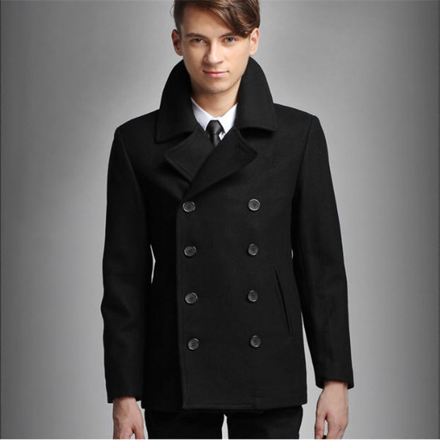 795d0acb8478d Mens Pea Coat Black Double Breasted Wool Peacoat Slim Fit Winter Warm Men  Casual Overcoat Trenchcoat
